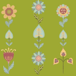 Folk art flowers, green background medium