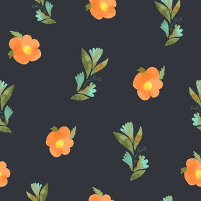 Tiny orange flowers on black