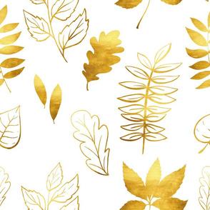 Gold leaves on white