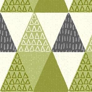 NC Pine Trees - Mod Geometric - Textured Green Jumbo Scale