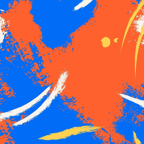 Mod brushstroke- navy orange