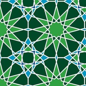 Moorish tile pattern, green grass and blue skies