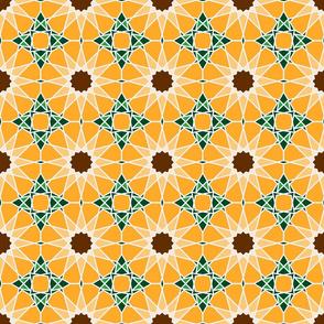 Moorish tile pattern, sunflower field