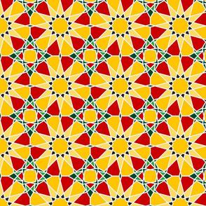 Moorish tile pattern, tulip field