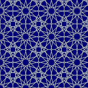 Moorish tile pattern, indigo shibori colours