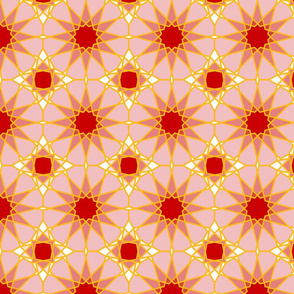Moorish tile pattern, gold and rose