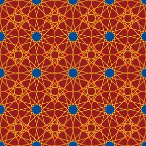 Moorish tile pattern, ruby, carnelian and lapis lazuli