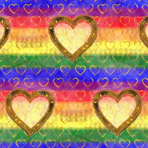 Rainbow Heart - 4 inch - Large Heart over Rainbow Pride Flag Colors with Small Gold Hearts in the Background - for Home Decor, Drag Shows, Pride Prom, Pride Festival DIY