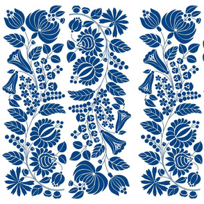Hungarian flowers, blue on white