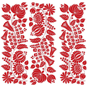 Hungarian flowers, red on white