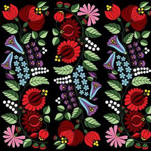 Hungarian flowers on black