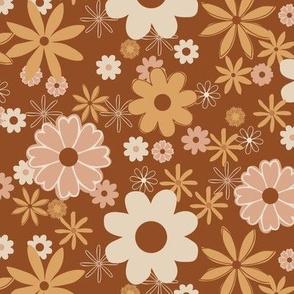 Retro Geometric Flowers Brown