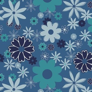 Retro Geometric Flowers Blue