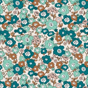 Flower garden romantic vintage boho style victorian leaves and flowers mint green teal cinnamon