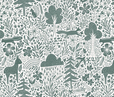 Canadian Flora and Fauna - green linocut - trees, flowers, blooms, clouds, deer, skunk, bird, fox, chipmunks, squirrel, snake - woodland animals
