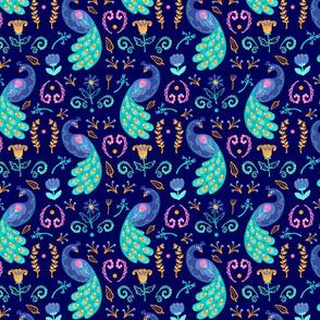 Peacocks on Blue