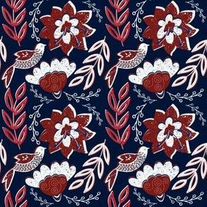 Colonial Folk Art Blooms & Birds