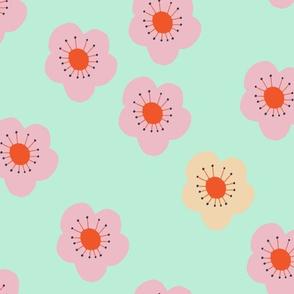 Flower Blooms on Aqua