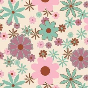 Retro Geometric Flowers on Cream