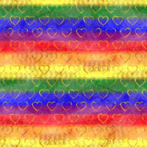 Gold Heart Rainbow Pride - Gay Pride Flag Colors with Gold Hearts - Large Scale for Home Decor, Pride Prom, Pride Festival diy