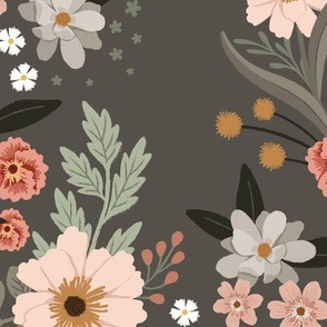Helena Floral on warm gray - Large Scale