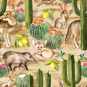 Early Arizona Morning - Watercolor Animals and Cacti - small, neutral brown