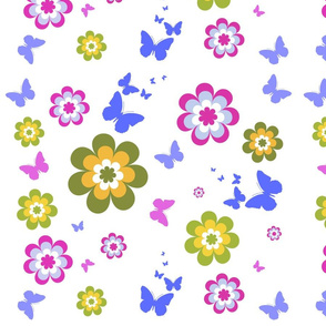 Forestwoodfolkart signature graphics Butterfly spring flowers. Tablecloths, napiery,  haberdashery. Gift wrap for paper crafters