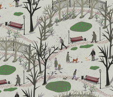 View from the window of the park_ where people_ children and dogs walk during early spring with thawed patches and the first grass