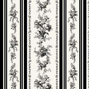Belevedere Floral Stripe ~ Custom Black and Off White