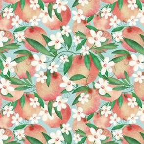 Sweet Peaches and Daisy Flowers  // Spring , Blossoms Flowers // Peach, Green, and Blue Sky