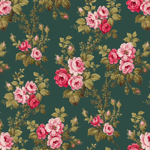 Old English Roses on Green