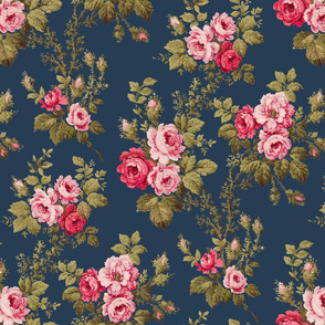 Old English Pink Roses on Blue