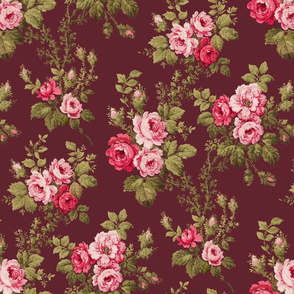 Old English Pink Roses on Maroon