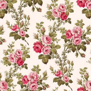 Old English Pink Roses on Buff