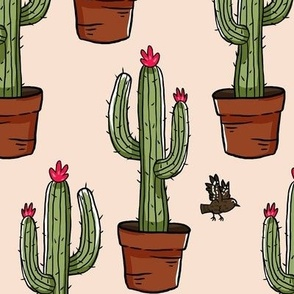 Cactus Plant and Wren Large