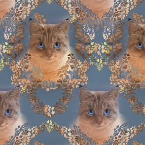 Medium Size Damask for Cat Lovers in Autumn Woodland