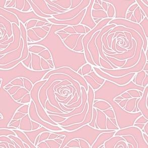 Jumbo Rose Garden Pattern on Rose Quartz Color