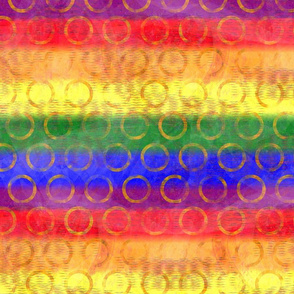 Circle Pride Flag - Gay Rainbow Pride Flag colors superimposed with bubble-like circles - 363dpi (41% of full scale)
