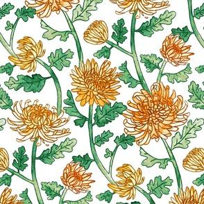 Yellow Chrysanthemum Watercolor & Pen Pattern - Large Scale