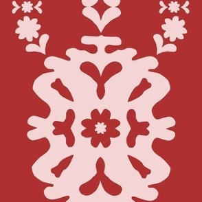Red and Blush Modern Papercut Medallion - jumbo scale for wallpaper, home décor and soft furnishings