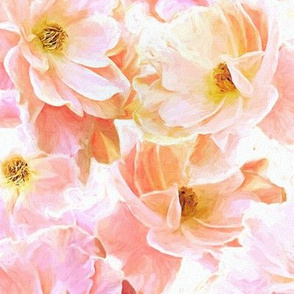 Abstracted Full Blown Roses in Candy Pink and Cream - large