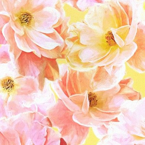 Abstracted Full Blown Roses in Candy Pink and Lemon Yellow - large