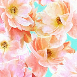 Abstracted Full Blown Roses in Candy Pink and Pale Cyan - large