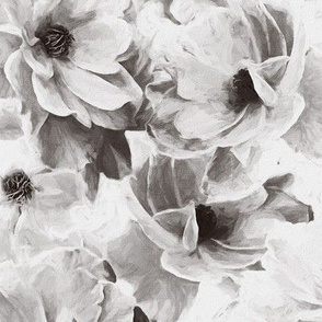Abstracted Full Blown Roses in Monchrome Black and White - large