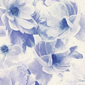 Abstracted Full Blown Roses in Pale Violet Blue - large