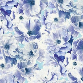 Abstracted Full Blown Roses in Blue Purple - small