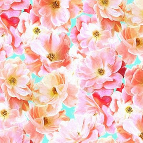 Abstracted Full Blown Roses in Candy Pink and Pale Cyan - small