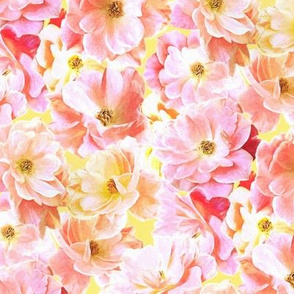 Abstracted Full Blown Roses in Candy Pink and Lemon Yellow - small