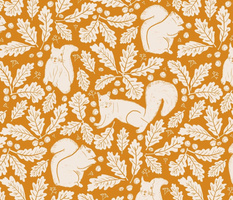 Squirrels Oak Leaves and Acorns in Cream and Pumpkin Puree Burnt Orange Copper Brown