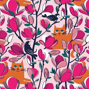 Small scale // Hello Spring! // pastel pink background orange tabby cat fuchsia pink Magnolia full bloom oxford navy blue branches birds and lines